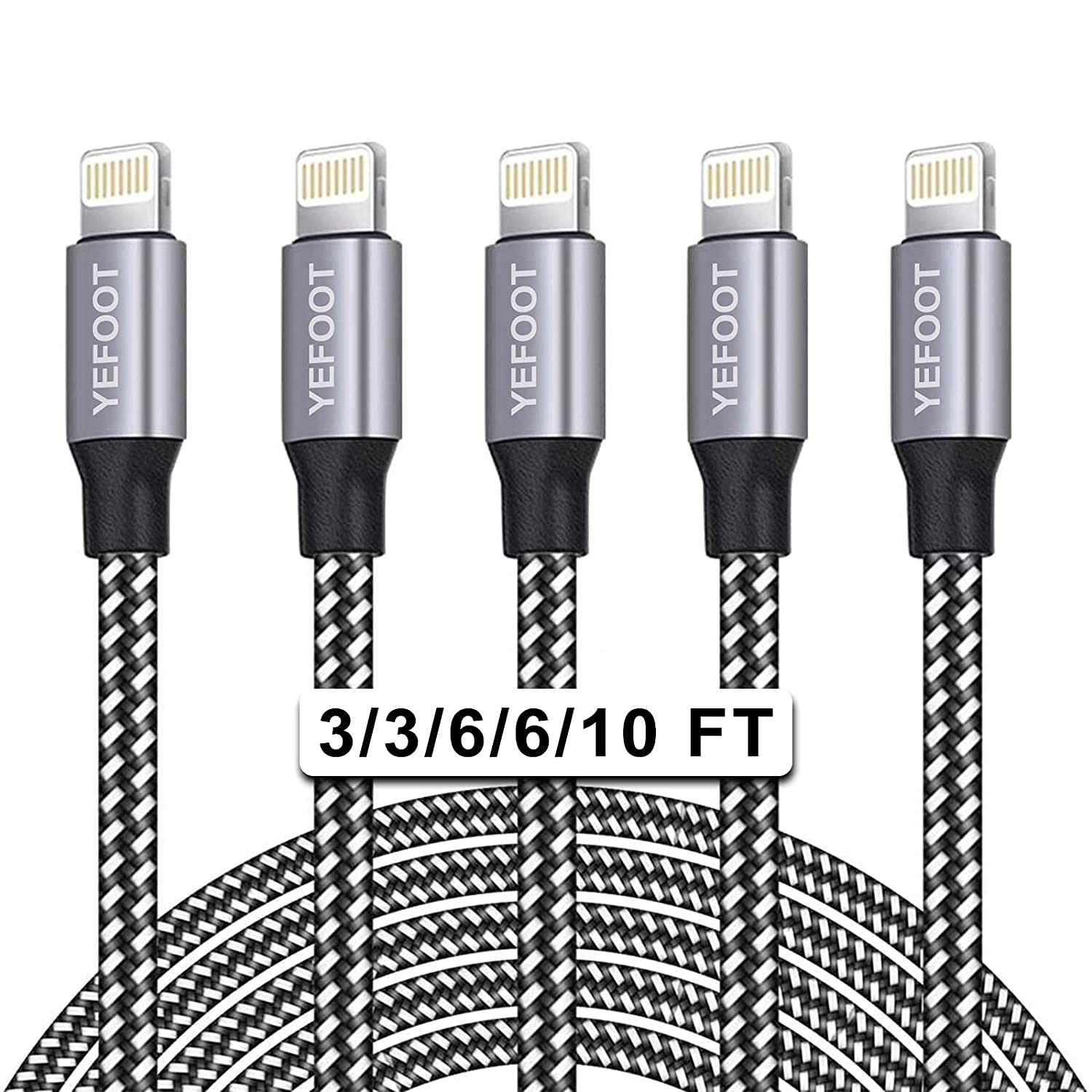 iPhone Charger, YEFOOT [MFi Certified] Cable 5Pack (3/3/6/6/10FT) Charger USB Cable Compatible iPhone 12Pro Max/12Pro/12/11/Pro/Xs Max/X/8 and More-Black&White