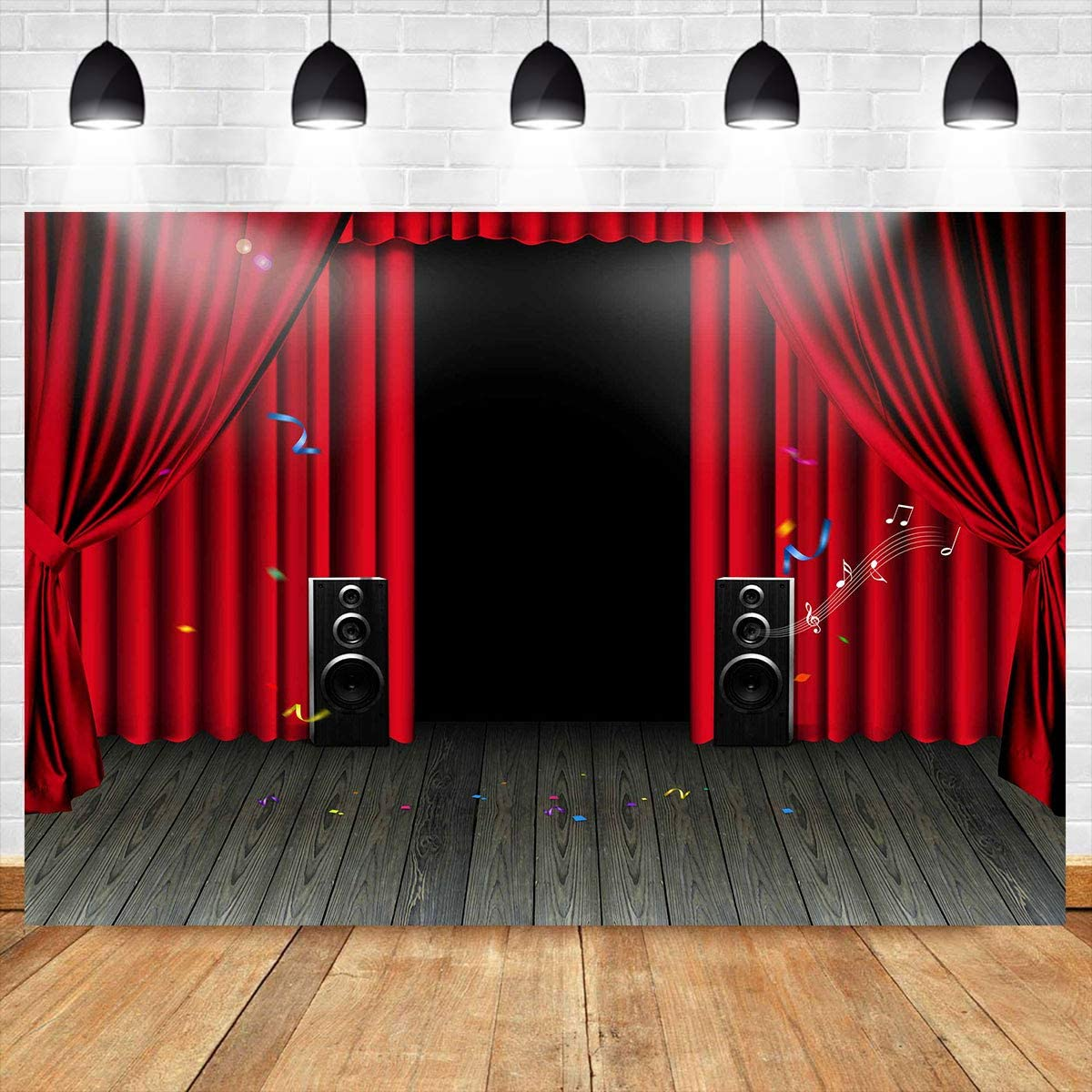 New Stage Curtain Background FHZON 7x5ft Golden Rope on Red Cloth Photograph Background for Theater Movie Theater Club Studio Party Photo Booth Props 489