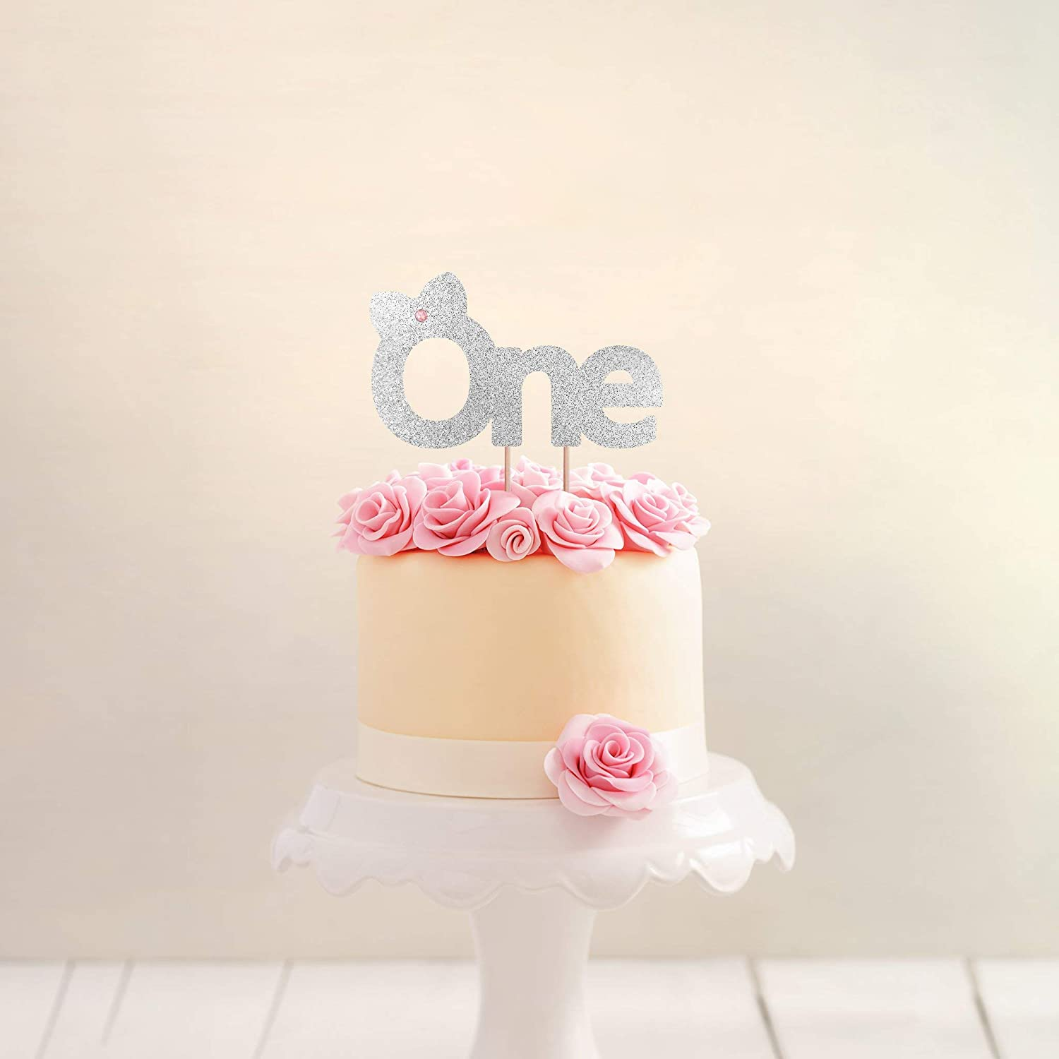 Amazon 1st Birthday Cake Topper Girl Pink And Gold Decoration Baby ONE Party First Princess