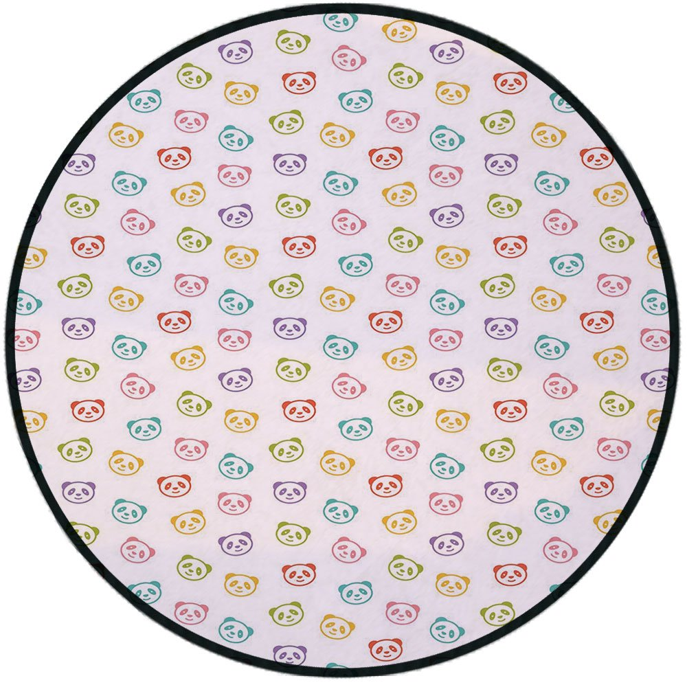 Printing Round Rug,Baby,Funny Panda Bears Colorful Cute Animals Cheerful Smile Wild Kids Nursery Baby Concept Decorative Mat Non-Slip Soft Entrance Mat Door Floor Rug Area Rug For Chair Living Room,Mu