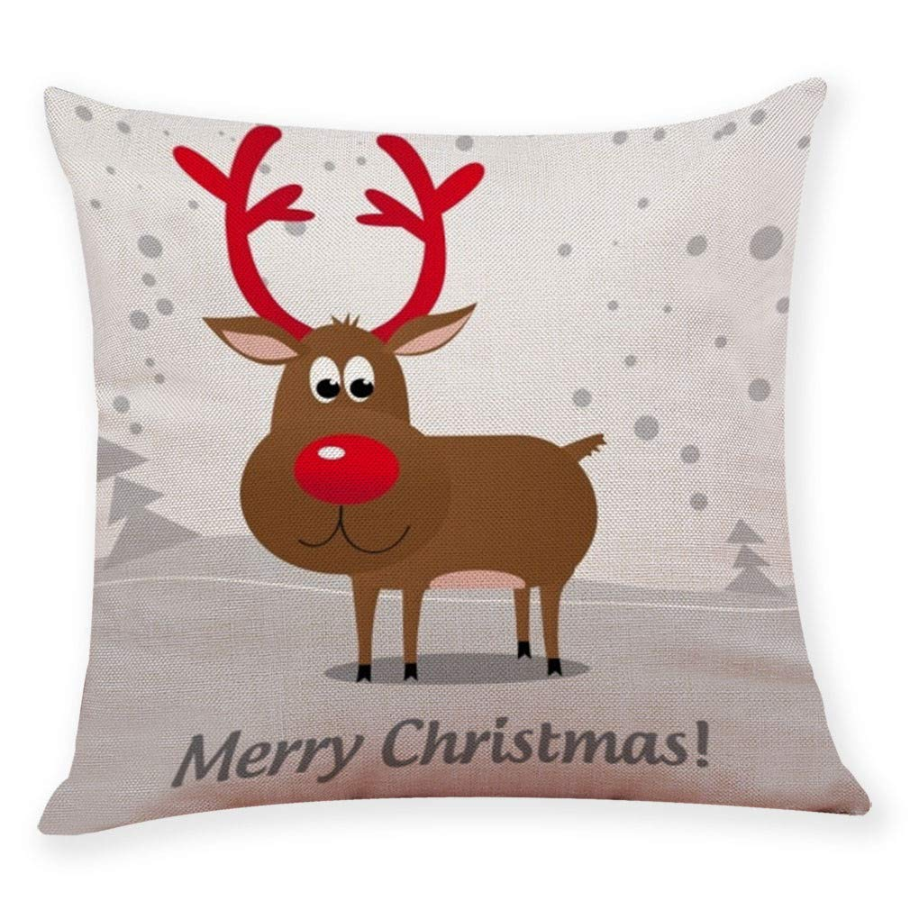 Pgojuni Pillow Case Cotton Linen Cushion Cover Merry Christmas Xmas Lovely Elk Printing Pillow Case Cushion Cover for Sofa/Couch 1pc 45X45 cm (B)