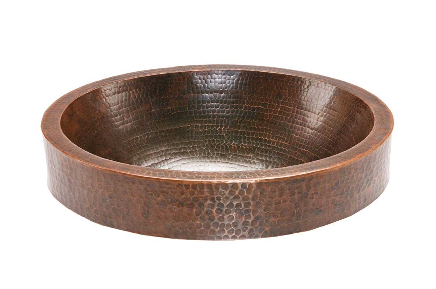 Premier Copper Products VO18SKDB 18 Oval Skirted Vessel Hammered Copper Sink