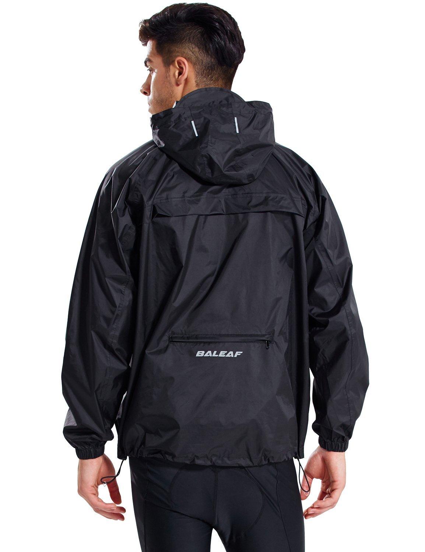 Baleaf Men's Rain Jacket Cycling Running Packable Outdoor Waterproof Hooded Pullover Raincoat Poncho Windbreaker Black Size M by Baleaf