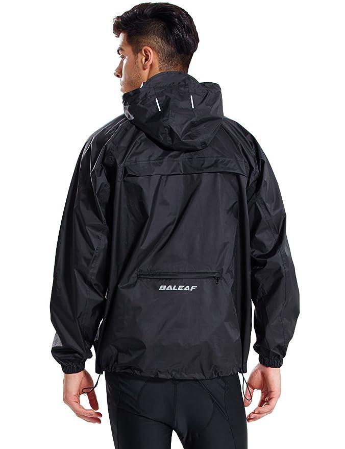 Baleaf Men's Rain Jacket Cycling Running Packable Outdoor Waterproof Hooded Pullover Raincoat Poncho Windbreaker Black Size M best men's lightweight jackets
