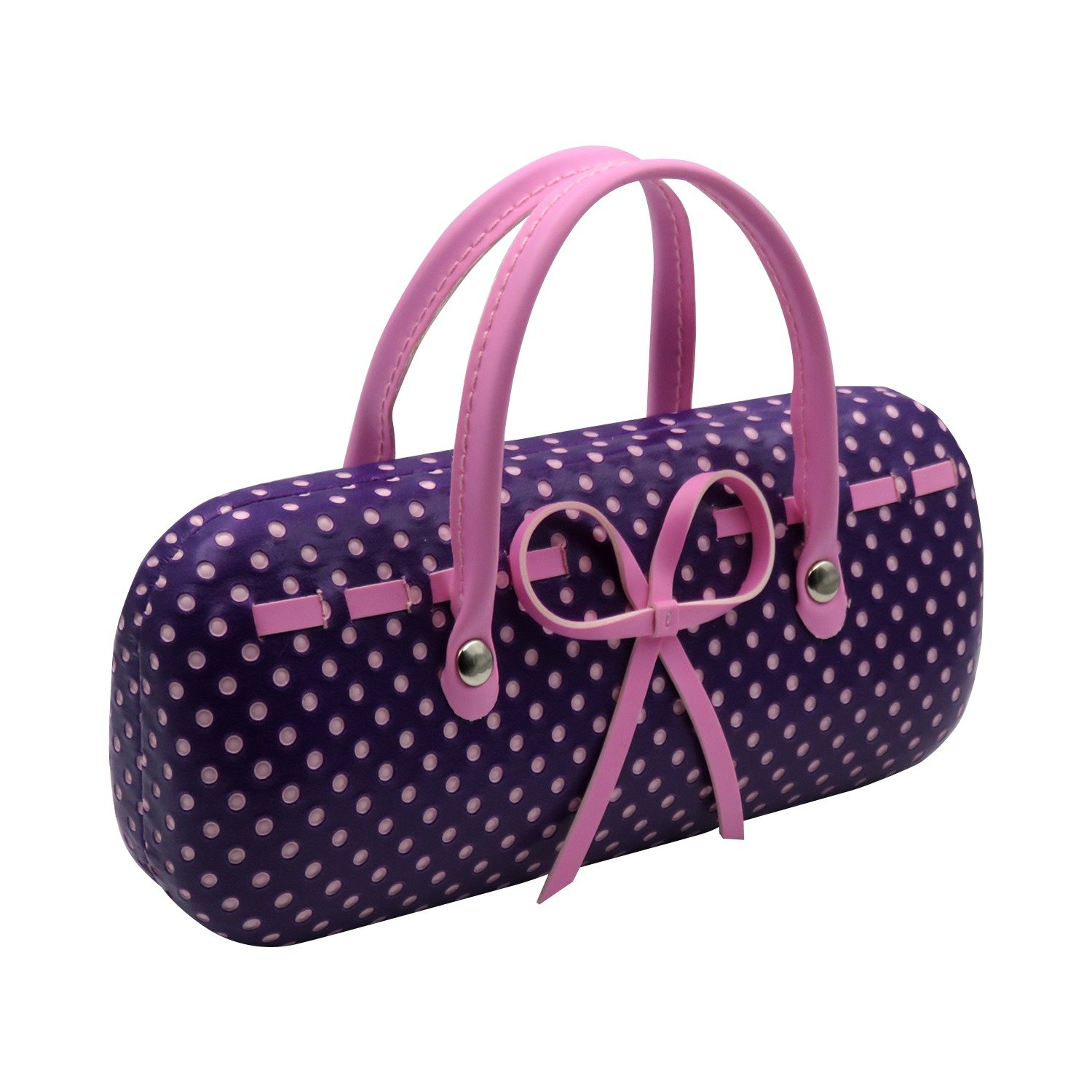 Purple Hard Protective Eyeglass Case with handles Mini handbag Eyeglass Case with cleaning cloth for Medium frames Women & Girls Small accessories| AS12TG Polka Dots Purple