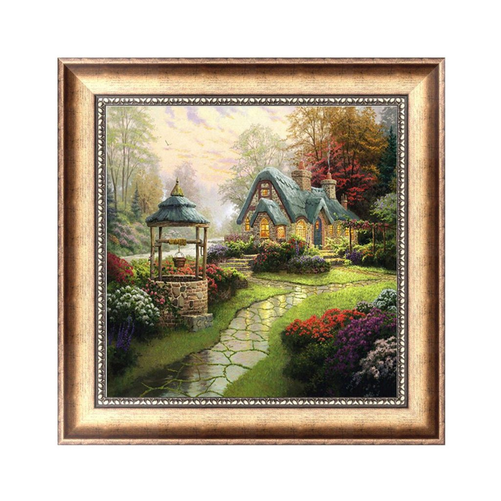 Bottone DIY 5D Diamond Embroidery House Painting Cross Stitch Art Craft Decor Gift