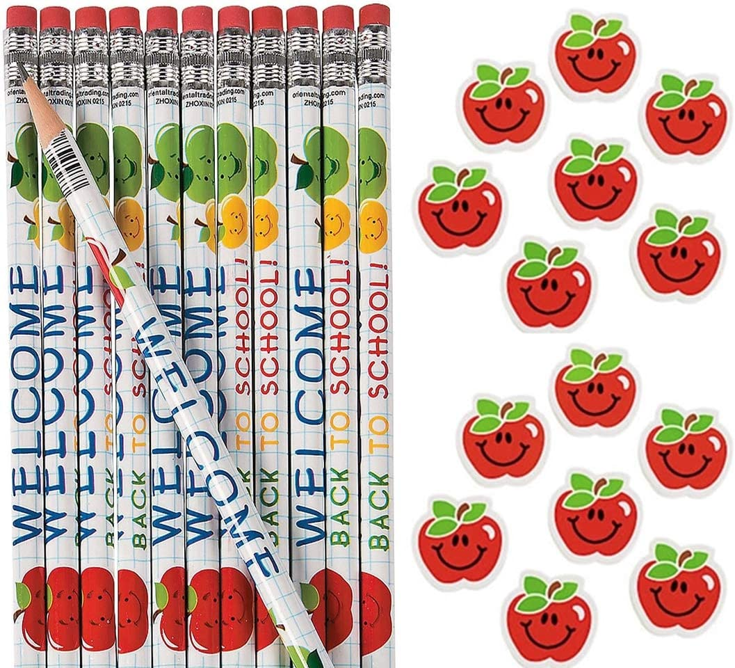 (24) Welcome Back To School Pencils and (24) Apple Erasers Bulk set