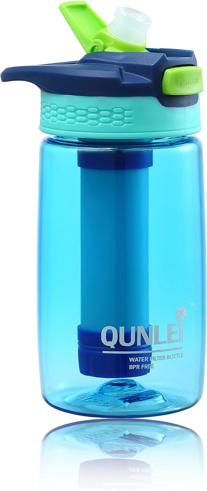 Qunlei Play - Botella de Filtro de Agua para niños con 2 filtros Integrados para Agua Potable Segura y Limpia: Amazon.es: Deportes y aire libre