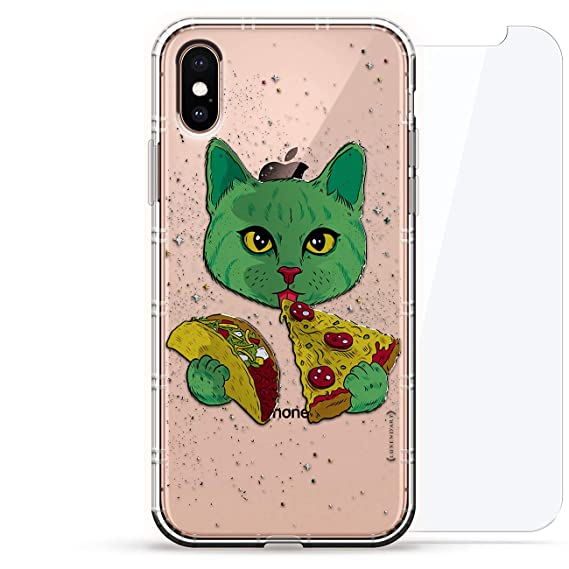 ANIMALS: Cat Eating Taco & Pizza | Luxendary Air Series 360 Bundle: Clear  Silicone Case with 3D printed design and Air-Pocket Cushion Bumper +