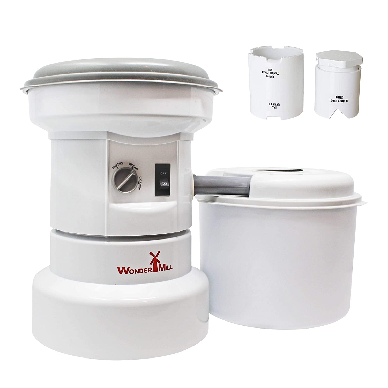 Grain Grinder with Flour Canister, Small Grains Attachment and Large Beans Adapter Combo - Flour Milling Machine for Home and Professional Use - Self-cleaning Electric Grain Mill Grinder by WonderMill