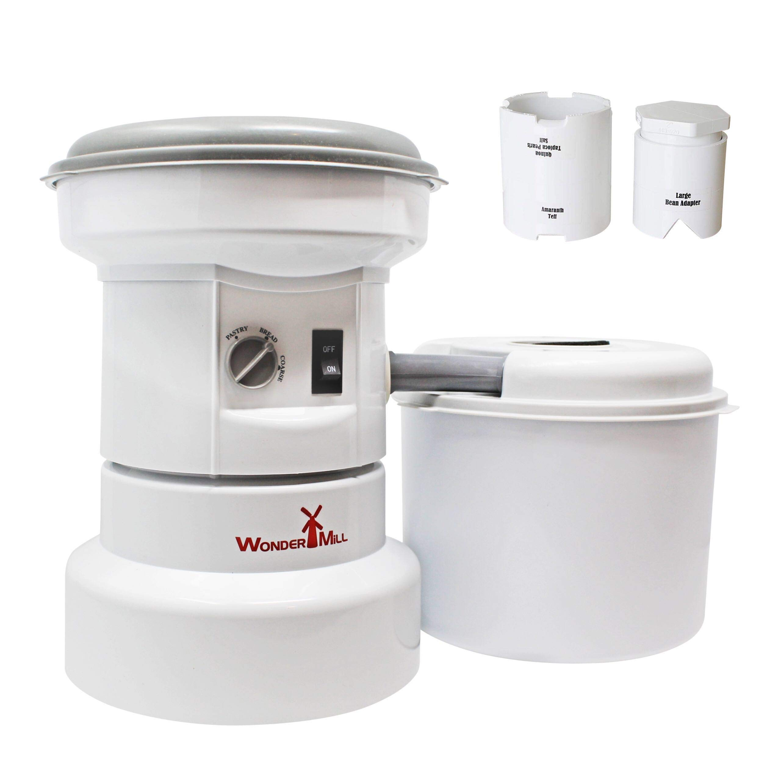 WONDERMILL - Grain Mill Grinder with Flour Canister - Electric Burr Grinder for Dry Seeds and Grains with Garbanzo Beans & Small Grain Attachments Combo - Electric Grinder for Spice Seeds, 1250W Motor