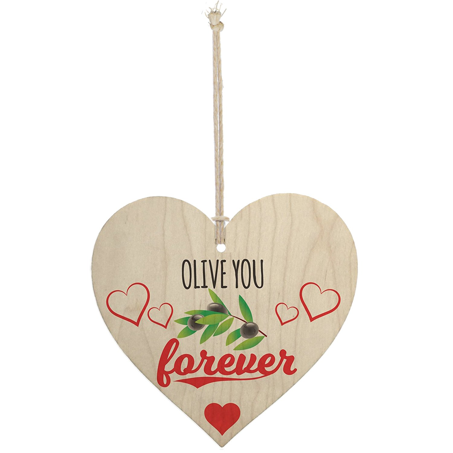 Meijiafei Olive You Forever Wooden Hanging Heart Plaque Kitchen Sign Cute Valentines Gift