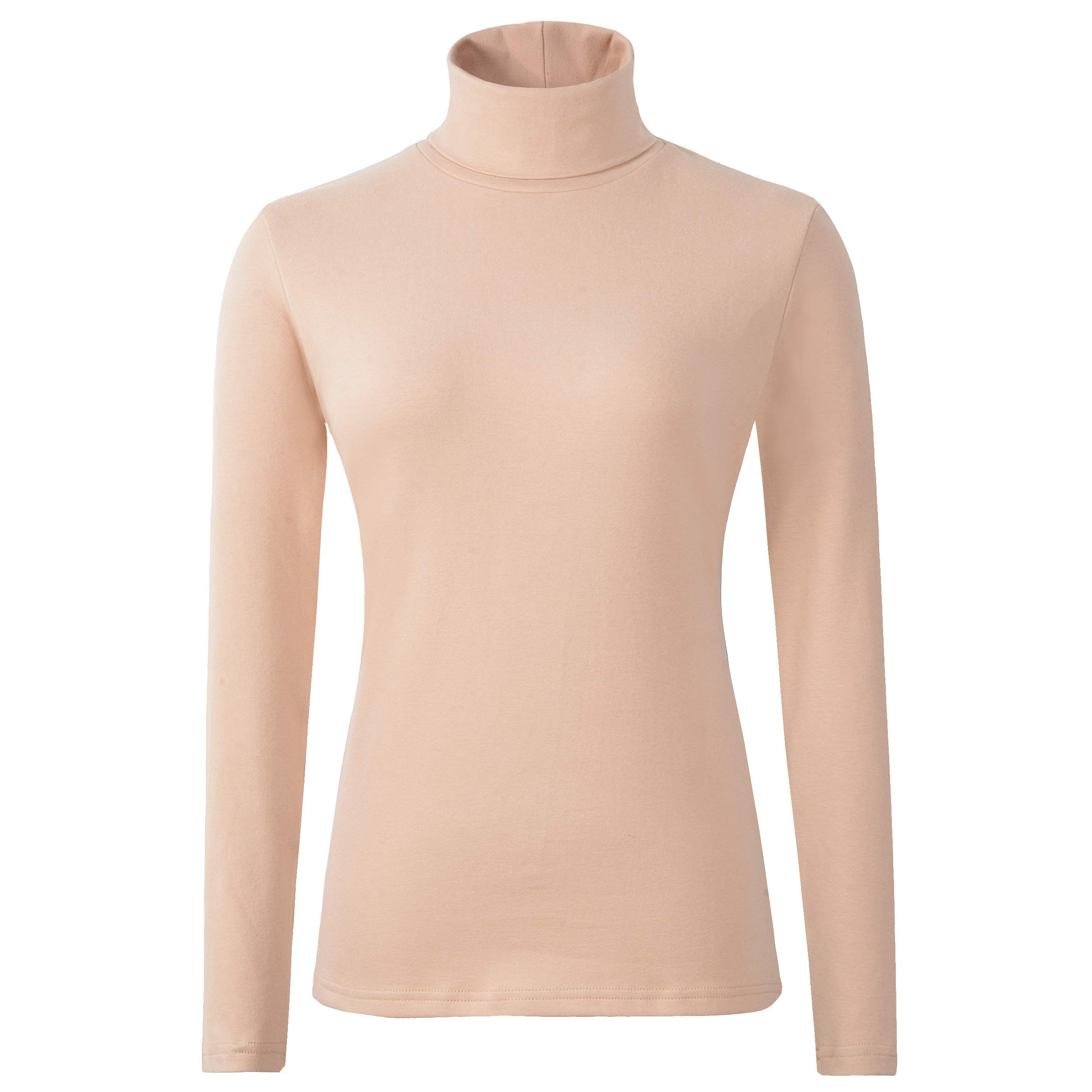 HieasyFit Women's Cotton Turtleneck Top Basic Layering Thermal Underwear(Beige M) by HieasyFit