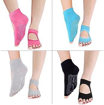 calcetines antideslizantes sin dedos para mujer, de algodón ...