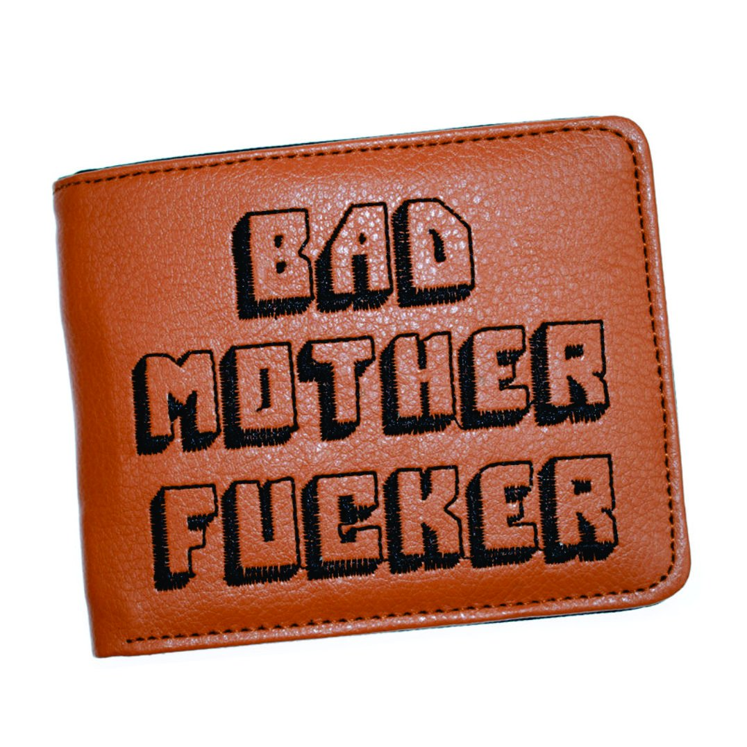 Bad Mother F Ker Wallet Pulp Fiction, Embroidered Tan Synthetic Leather, Men's Bifold - Brown - Medium