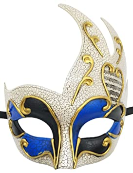 Hombres Mascarada Máscara Retro Agrietado Veneciano Fiesta Máscara Halloween Mardi Gras Máscara (Azul)
