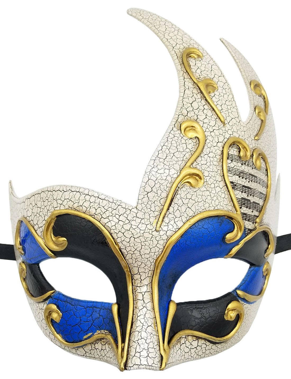 Flywife Men's Masquerade Mask Vintage Cracked Venetian Party Mask Halloween Mardi Gras Mask (Blue)