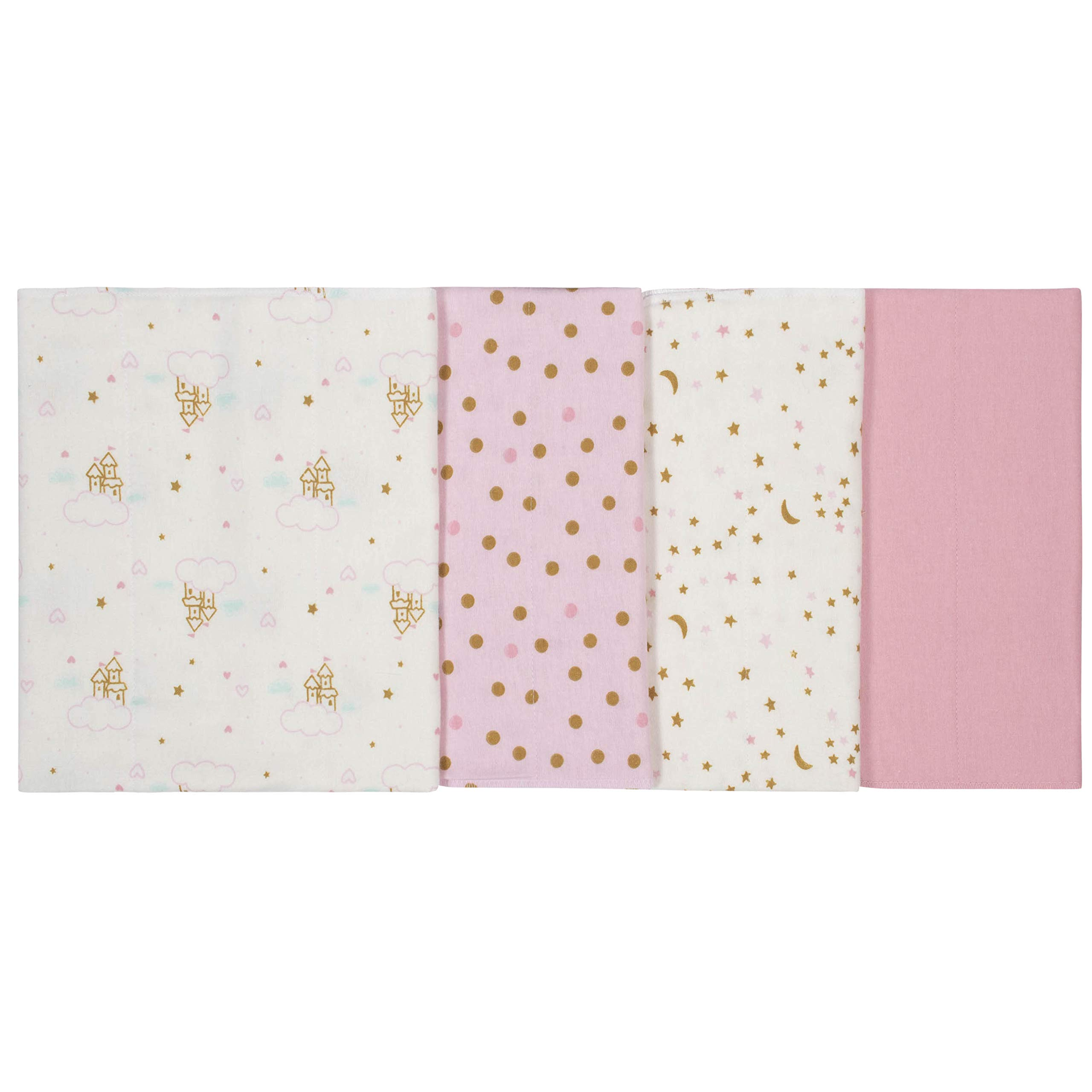 GERBER Baby Girls 4-Pack Flannel Burp Cloth, Princess Arrival, 20'' x 14'' by GERBER