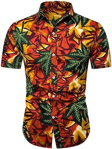 Camisa Hawaiana para Hombre Verano Camisa Hombre Slim fit Camisas Casual para Hombre Camisa Transpirable Camisa Hawaiana enrrollada | Hombres | Manga Corta | Hawaiano-Imprimir: Amazon.es: Ropa y accesorios