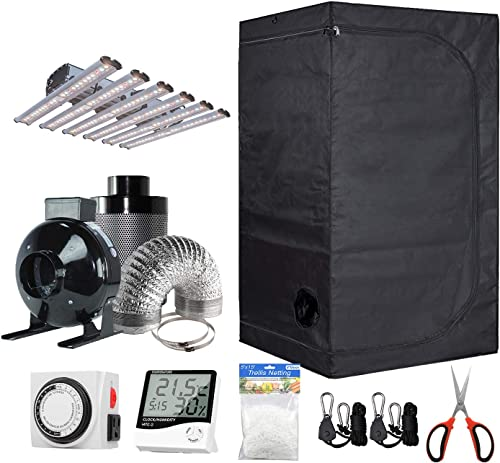 BloomGrow 60 x60 x80 Grow Tent 6 Fan Filter Duct Combo 1200W LED Light Hangers Hygrometer Shears 24 Hour Timer Trellis Netting Indoor Grow Tent Complete Kit