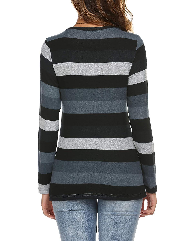 Beyove Damen T Shirt Streifen Lose Asymmetrisch Langarm Verknotet Rundhals Tops Oberteile