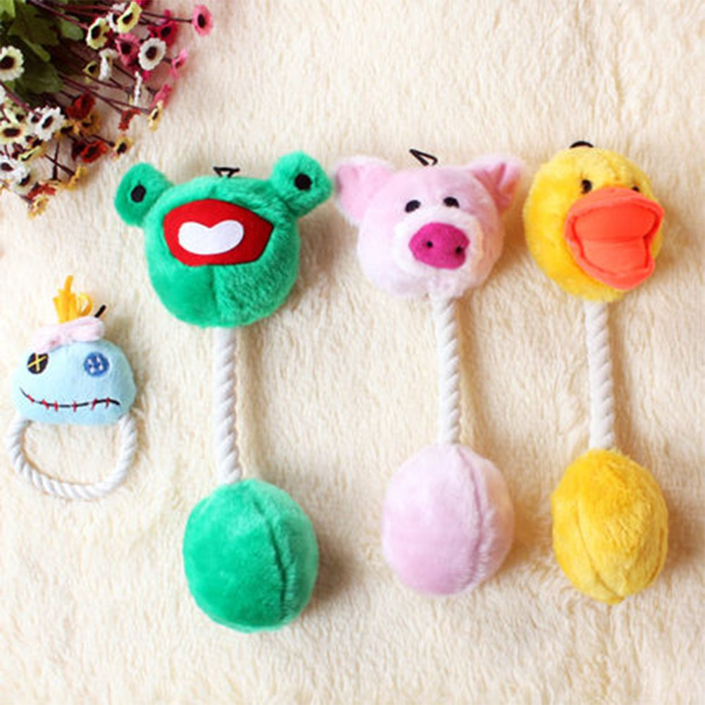 WuKong Pet Dog Cat Toy Interactive Sound Bite Toy Knot Ball Plush Toy (A set of Four) by Wukong