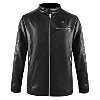 CLIMIX Regular Fit Heated PU Leather Jacket for Men