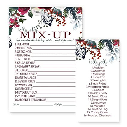 Paper Clever Party Christmas Word Scramble Game Cards Wintry Floral Set of  25