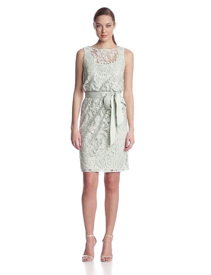 Adrianna Papell Womens Lace Bourson Dress with Sash