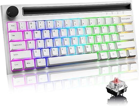 RGB Teclado mecánico , RK61 con cable / inalámbrico Teclado Bluetooth 61 teclas Teclado LED para juegos con retroiluminación a prueba de agua ...