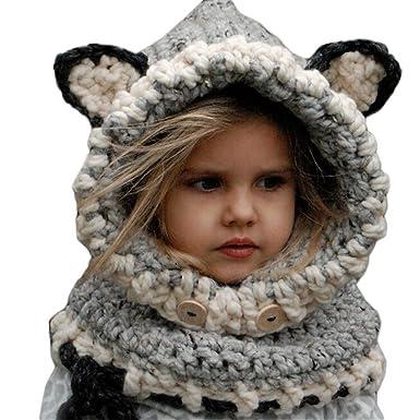 9e25ae1070711 Bigood Cagoule Enfant Tricot Bonnet Tour de Cou Chaud Hiver Renard Mignon  Gris: Amazon.fr: Vêtements et accessoires