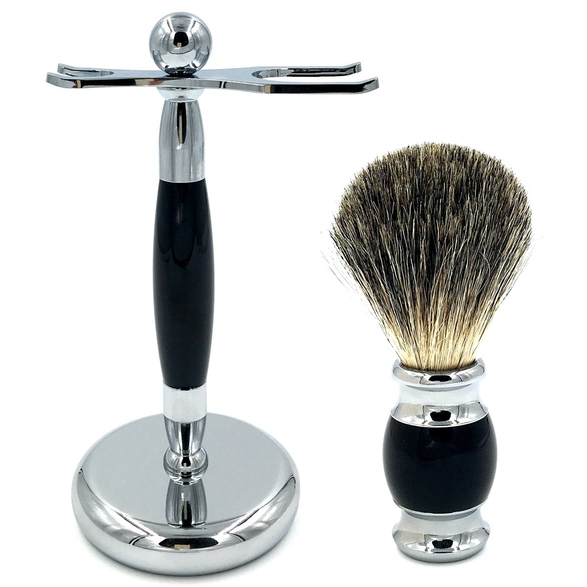 Men's Deluxe Shaving Stand Razor Brush Holder With 100% Pure Badger Shaving Brush, The Best Shaving Kit for Your Life