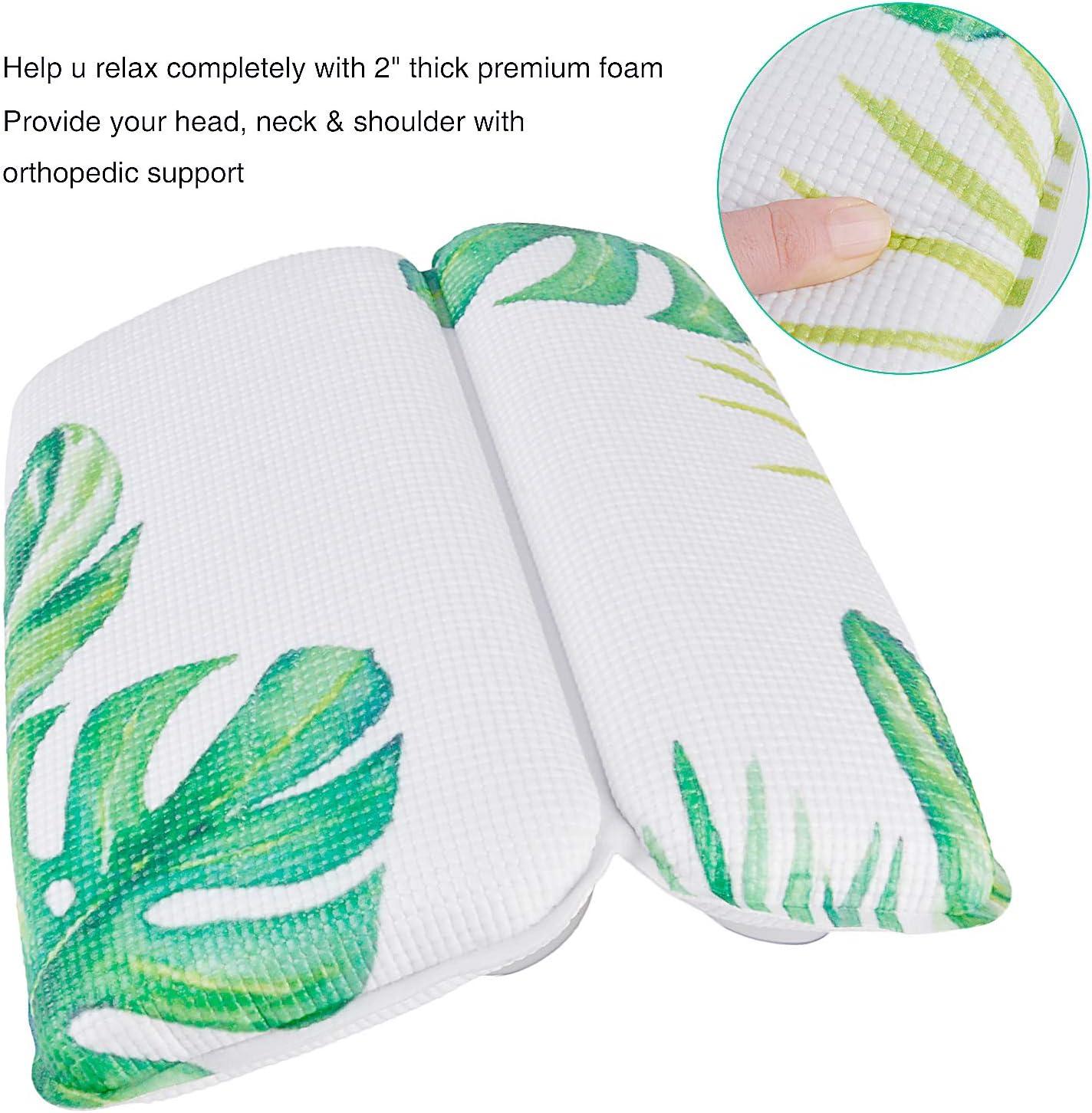 Almohadas de Ba/ño de SPA Ventosas Fuertes Almohadillas de Soporte Suave y C/ómodo para Hombres y Mujeres Kapmore Almohada de Ba/ño Green