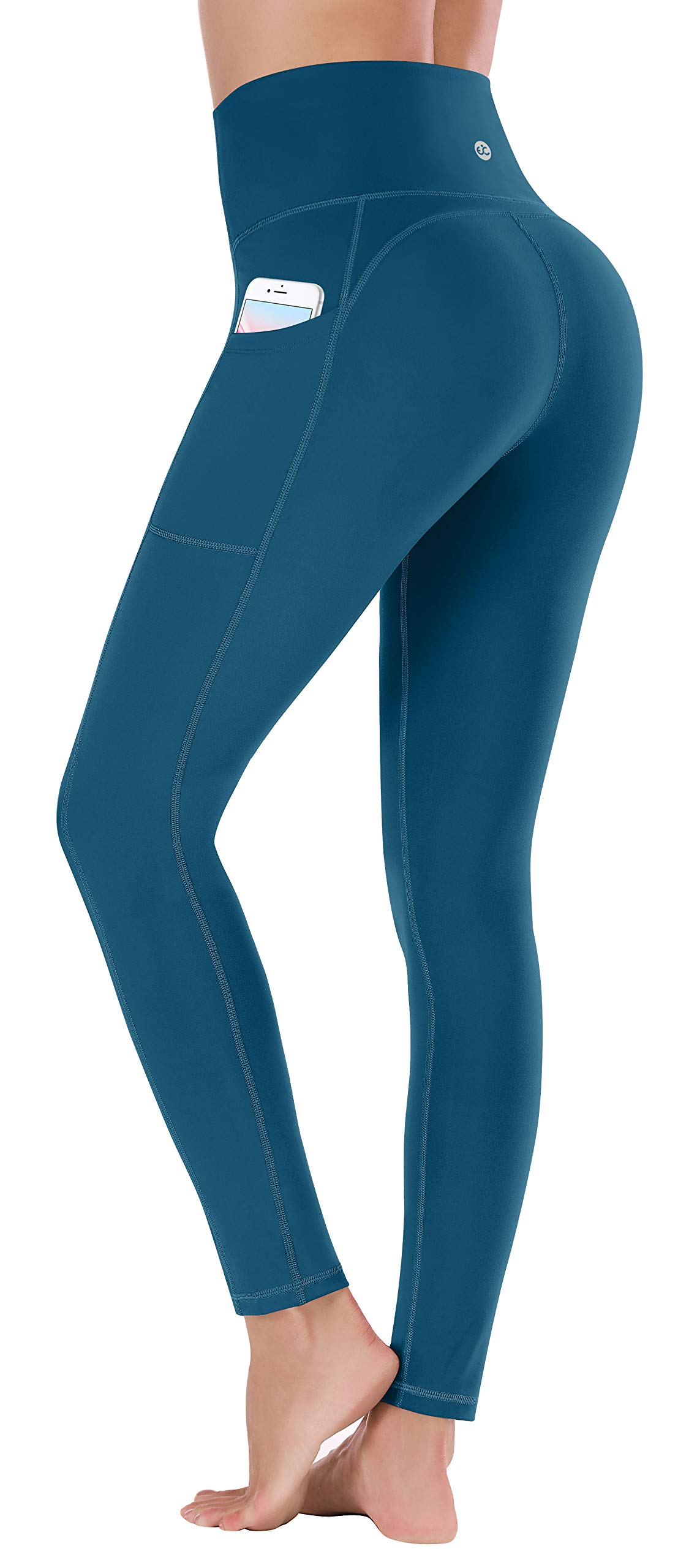Ewedoos Women's Yoga Pants with Pockets - Leggings with Pockets, High Waist Tummy Control Non See-Through Workout Pants (EW320 PEACOCK BLUE, X-Large) by Ewedoos