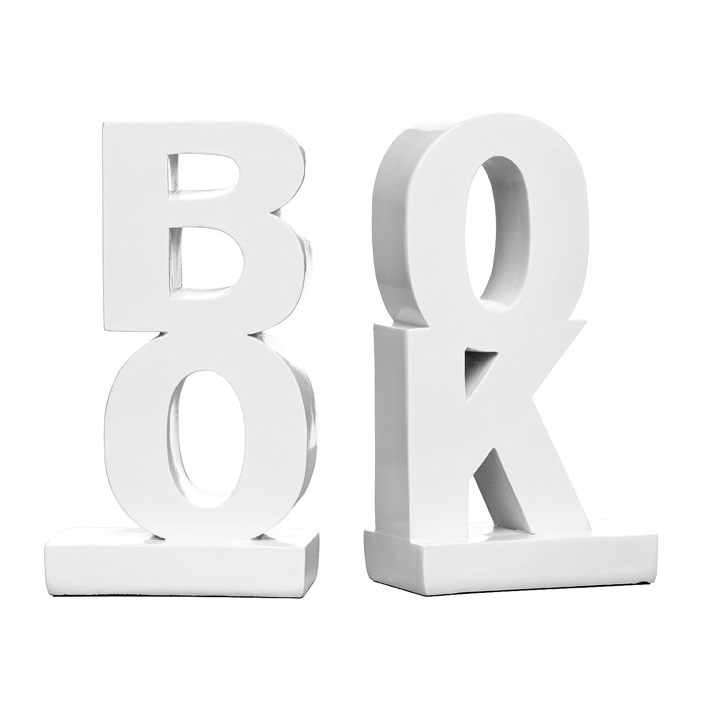 Premier Housewares 1410758Buch Buchstützen, weiß Gloss weiß Gloss