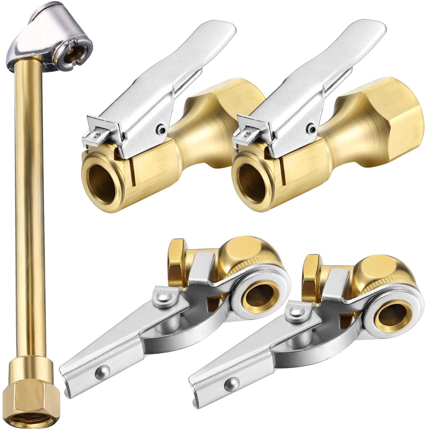 1//4 Brass Lock On Air Chuck Mudder Air Chuck Set 1//4 Metal Lock on Air Chuck and Locking Air Chuck with Air Hose and Standard Tire Valve Fine Thread for Portable Tire Inflator