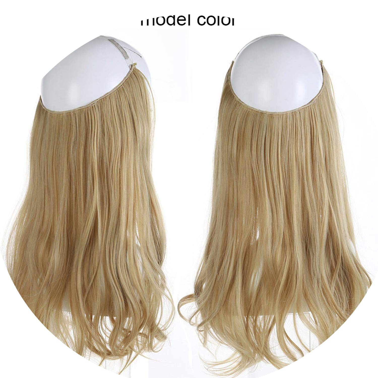 14'' 16'' 18'' Synthetic Flip In Natural Wave Halo Hair Extensions Invisible Hidden Secret Wire Crown Headband Hair Extension,Light Ash Blonde,14inches,China by Heat-Tracing