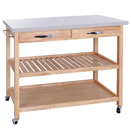 Amazoncom Alitop Kitchen Cart Island Rolling Home Dining Wooden