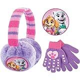 Nickelodeon girls Plush Girls Earmuffs and Glove Set, Paw Patrol Skye and Everest Earmuffs Girls Ages 4-7