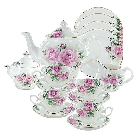 Rose Bouquet Bone China Tea Set (With 4 Dessert Plates)  sc 1 st  Amazon.com & Amazon.com | Rose Bouquet Bone China Tea Set (With 4 Dessert Plates ...
