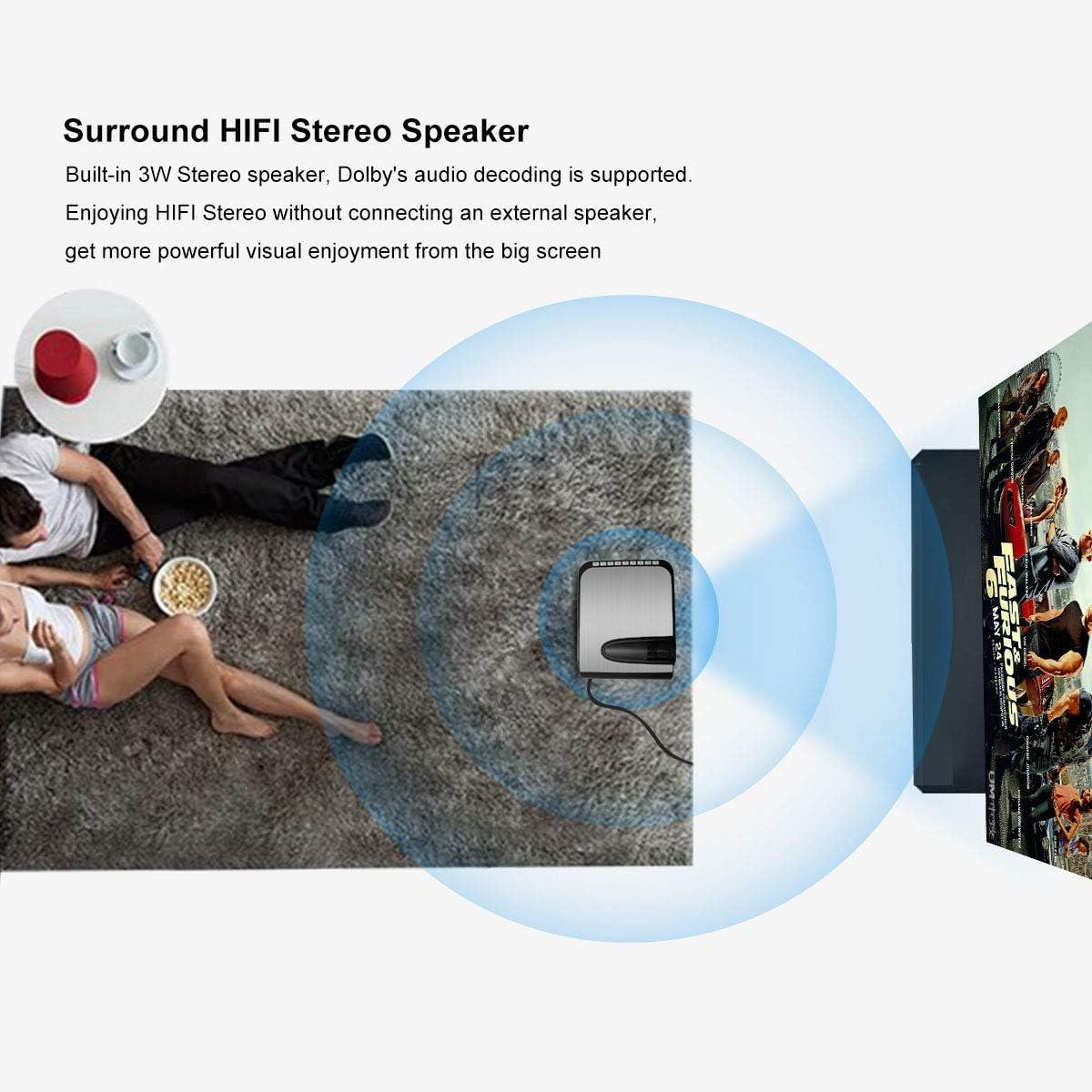 FASTER Beamer 1080P Full HD 3600 Lumen Unterst/ützt Projektor Multimedia Kompatibel mit USB VGA TV PS4 f/ür Heimkino B/üro Treffen Schulunterricht AV HDMI SD