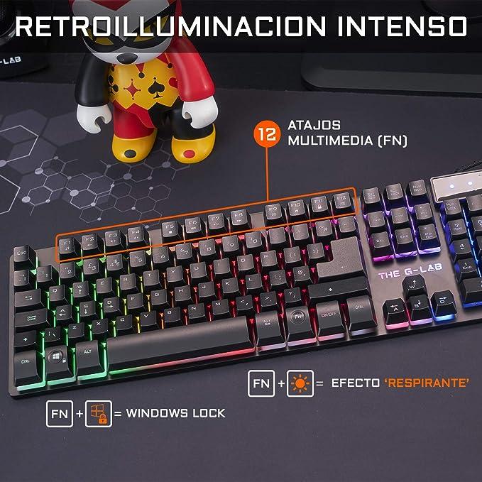 THE G-LAB Combo Krypton Pack de Teclado Gaming USB y Ratón Multicolor Retroiluminación – Teclado Gaming QWERTY - Incluye Ñ - Anti-Ghosting + Ratón ...