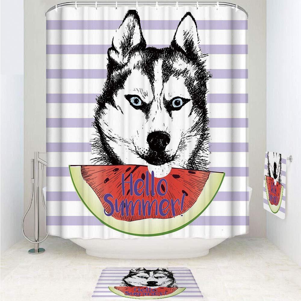 iPrint Polyester Fabric Bathroom Shower Curtain Set with Hooks,Eating Watermelon Slice Fresh Summer Themed Striped,3pcs Set with Shower Curtain Bath Towel Non-Slip mat for Home Decor Bathroom