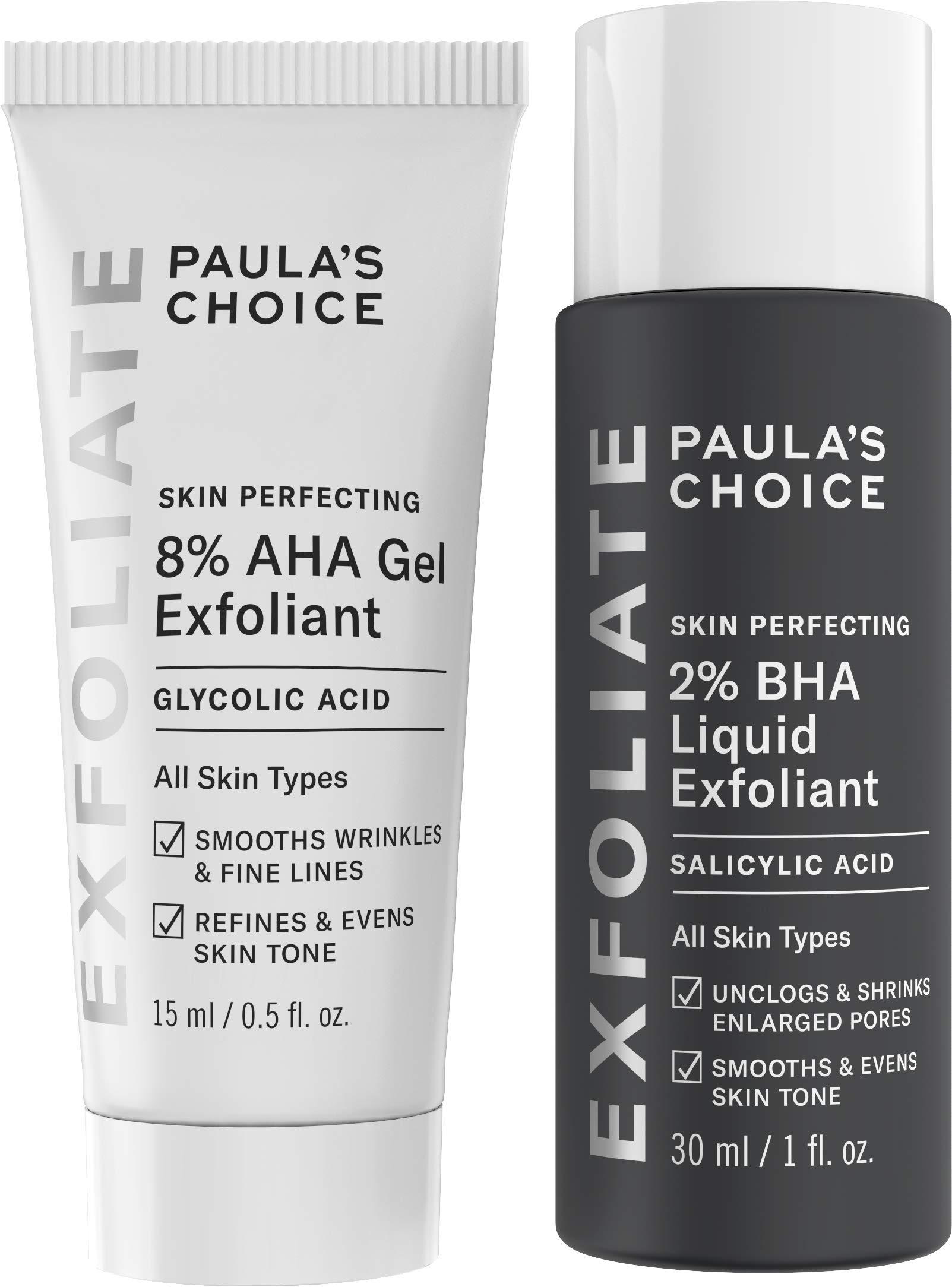 Paula's Choice SKIN PERFECTING 8% AHA Gel Exfoliant & 2% BHA Liquid Travel Duo, Facial Exfoliants for Blackheads & Wrinkles, Face Exfoliators w/Glycolic Acid Salicylic Acid by PAULA'S CHOICE