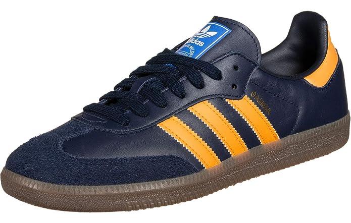 adidas Samba oG Schuhe Navy Blau mit gelben Streifen