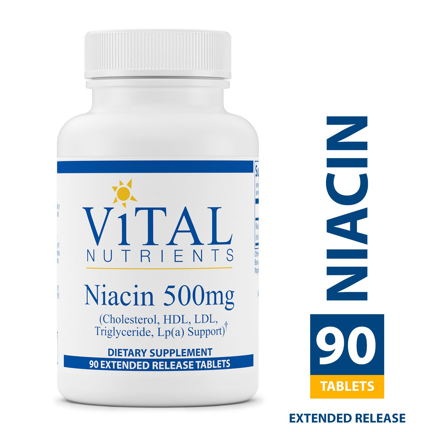Vital Nutrients - Niacin 500 mg Extended Release - Cholesterol, HDL, LDL, Triglyceride, LP(A) Support - 90 Extended Release Tablets per Bottle