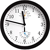 MAGHO Non-ticking Silent Indoor Wall Clock with Thermometer and Hygrometer for Kitchen/Living Room/Bathroom/Garage etc, Battery Operated, Black Color,Metal Frame,10'