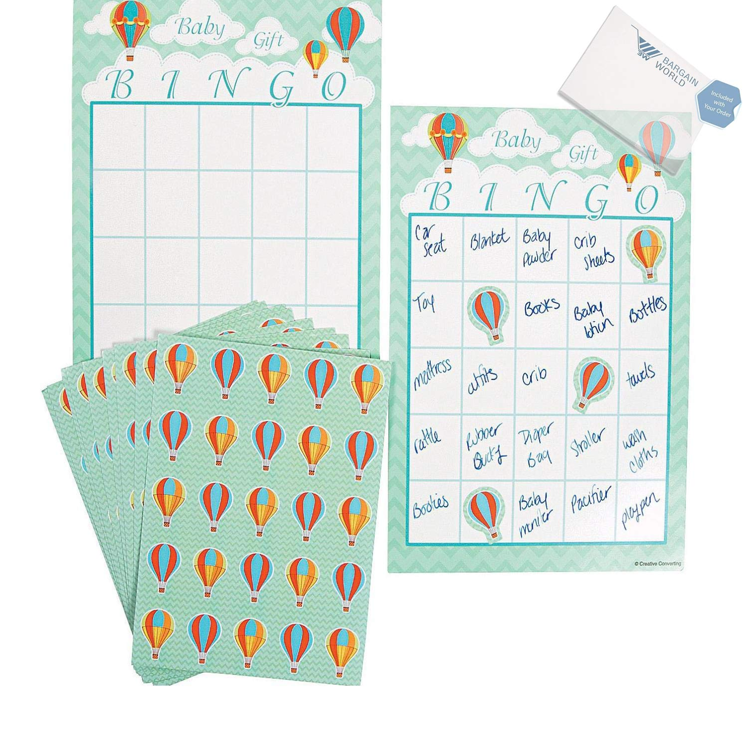 Bargain World Up & Away Baby Shower Bingo Game (With Sticky Notes)