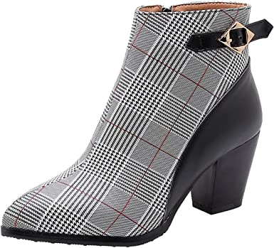 Malbaba Women's Pointed Toe Plaid Ankle