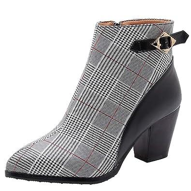 Sunnywill Stiefel Damen Schwarz Leder Mit Absatz Schuhe